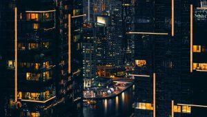 A city skyline at night